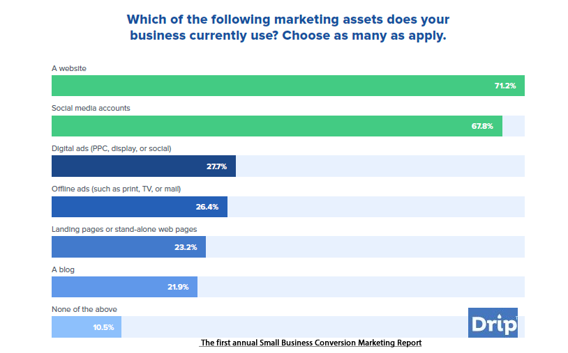 Websites & Social Media Are the Most Used Marketing Assets in Small Businesses in US, 2017 | Drip 1 | Digital Marketing Community