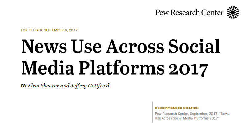News Use Across Social Media Platforms, Sep 2017 Pew Research Center