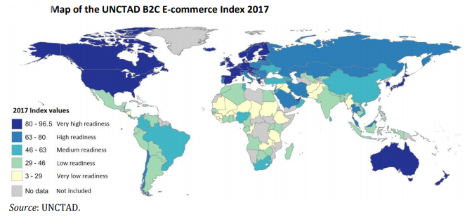 Map of the UNCTAD B2C E‐commerce Index 2017