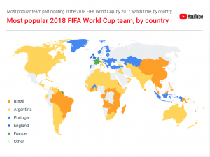 The most popular 2018 FIFA World Cup teams in each of the world's countries