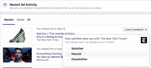 Facebook new tool leave feedback about advertisers