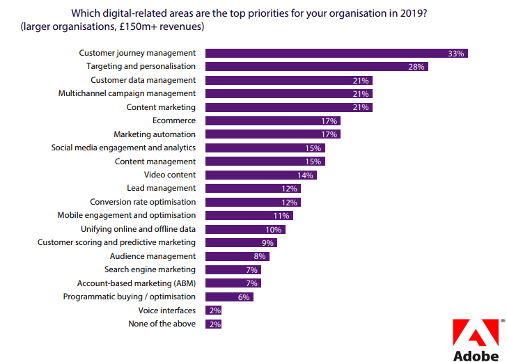 Which Digital Area is The Top Priority for Organizations, 2019.