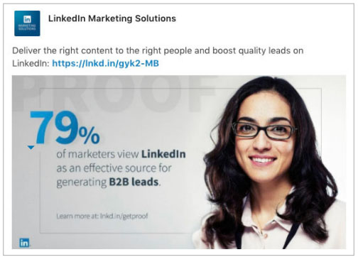 An Example of a Top-performing Sponsored Post on Linkedin to Drive Traffic to Linkedin Marketing Solutions Landing Page